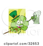 Clipart Illustration Of A Shamrock Character In A Green Hat Carrying A Cane And A Toasting With A Mug Of Beer On St Paddys Day by Hit Toon