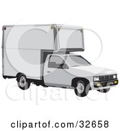 Clipart Illustration Of A White Nissan Moving Truck by David Rey