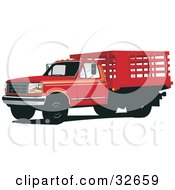 Clipart Illustration Of A Red Ford F 350 Truck With A Caged Bed by David Rey