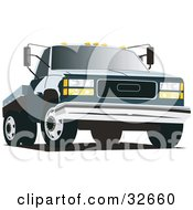 Clipart Illustration Of A Dark Blue Flatbed Truck by David Rey