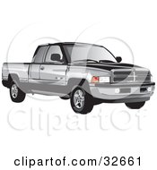 Clipart Illustration Of A Black And Gray Dodge Ram Truck