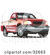 Clipart Illustration Of A Red Ford F 150 Pickup Truck by David Rey