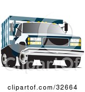 Clipart Illustration Of A Blue Chevrolet C3500 Truck With A Crated Bed