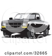 Clipart Illustration Of A Black Chevrolet C 2500 Truck