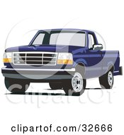 Clipart Illustration Of A Blue Ford F 150 Truck by David Rey #COLLC32666-0052