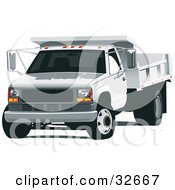 Clipart Illustration Of A White Dump Truck