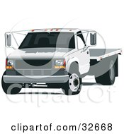 Clipart Illustration Of A White Flatbed Truck