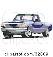 Clipart Illustration Of A Blue Ford Ranger Pickup Truck by David Rey