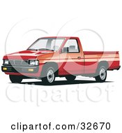 Clipart Illustration Of A Red Nissan Pickup Truck by David Rey