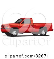 Clipart Illustration Of A Red Dodge Ram Pickup Truck With Tinted Windows