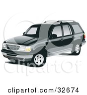 Clipart Illustration Of A Black Ford Explorer SUV With Privacy Glass