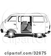 Clipart Illustration Of A Black And White Ichi Van With The Sliding Side Door Open by David Rey