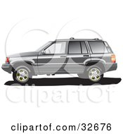 Clipart Illustration Of A Gray Jeep Grand Cherokee SUV In Profile With Tinted Windows by David Rey