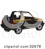 Clipart Illustration Of A Black And Yellow Convertible Geo Tracker With The Top Off
