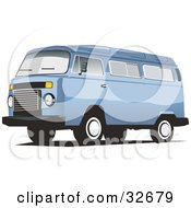 Clipart Illustration Of A Sky Blue Combo Van by David Rey