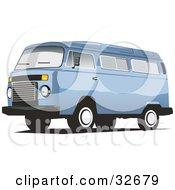 Clipart Illustration Of A Sky Blue Combo Van