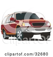 Clipart Illustration Of A Red And Orange Ford Expedition SUV by David Rey