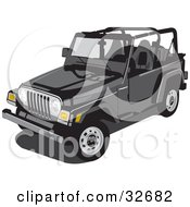 Clipart Illustration Of A Black Jeep Wrangler Convertible With The Top Off