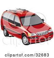 Clipart Illustration Of A Red Chevrolet Venture Minivan With Tinted Windows
