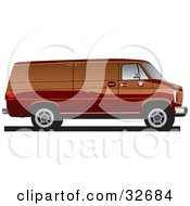 Brown Full Sized Van In Profile