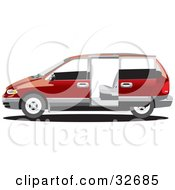 Red Chrysler Voyager Minivan With Tinted Windows In Profile With The Slider Door Open
