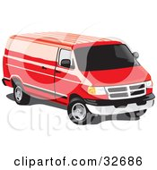 Red Full Size Van With Tinted Windows