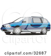 Clipart Illustration Of A Blue Ford Windstar Minivan by David Rey