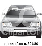 Clipart Illustration Of A Front View Of A Silver Audi Car With A Sunroof