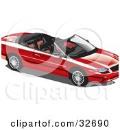 Clipart Illustration Of A Convertible Red Car With The Top Off