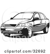 Clipart Illustration Of A Black And White Chevrolet Corsa Sedan Car