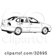 Clipart Illustration Of A Black And White Car