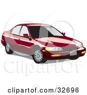 Clipart Illustration Of A Red Honda Accord With Dark Window Tint