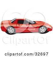 Clipart Illustration Of A Red Chevy Corvette Sports Car In Profile With Privacy Glass
