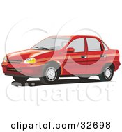 Clipart Illustration Of A Red Chevrolet Monza Car