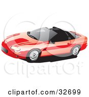 Clipart Illustration Of A Red Chevy Camaro With T Tops And Tinted Windows