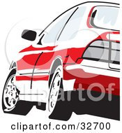 Clipart Illustration Of A Red Honda Accord Driving As Seen From The Rear