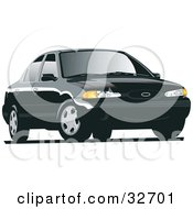 Clipart Illustration Of A Black Ford Contour Car With Tinted Windows by David Rey