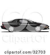 Clipart Illustration Of A Black Chevy Camaro In Profile