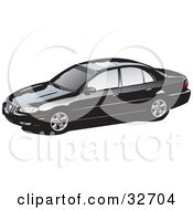 Clipart Illustration Of A Black Cadillac Catera Car With Privacy Glass
