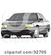 Clipart Illustration Of A Black Luxury Cadillac Deville Car With Privacy Glass