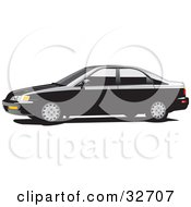 Clipart Illustration Of A Black Honda Accord Car With Dark Tinted Windows In Profile