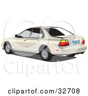 Clipart Illustration Of A Beige Honda Accord With Dark Tinted Windows