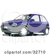 Clipart Illustration Of A Blue Compact Chevrolet Car