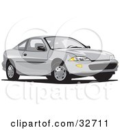 Clipart Illustration Of A White Chevrolet Cavalier