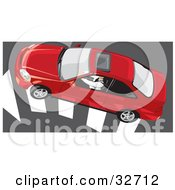 Clipart Illustration Of An Aerial View Of A Person Driving A Red Honda Civic Coupe Car With A Sunroof Over An Arrow On The Road