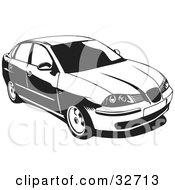 Clipart Illustration Of A Black And White Chrysler Cordoba Car