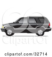 Clipart Illustration Of A Black Chevy Blazer In Profile With Dark Window Tint by David Rey