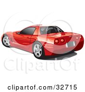 Clipart Illustration Of A Rear View Of A Red Chevrolet Corvette With Black Tinted Windows by David Rey #COLLC32715-0052