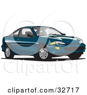 Clipart Illustration Of A Teal Chevy Cavalier