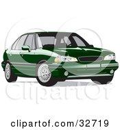 Clipart Illustration Of A Parked Green Pontiac Bonneville